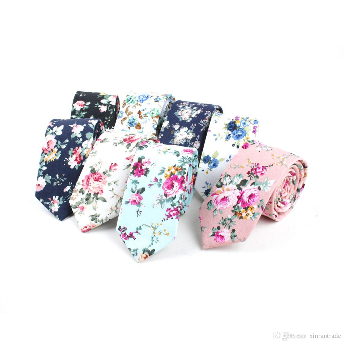 Cravate florale imprimée en coton, maigre cravates pour hommes, mariage, garçon d'honneur, fête