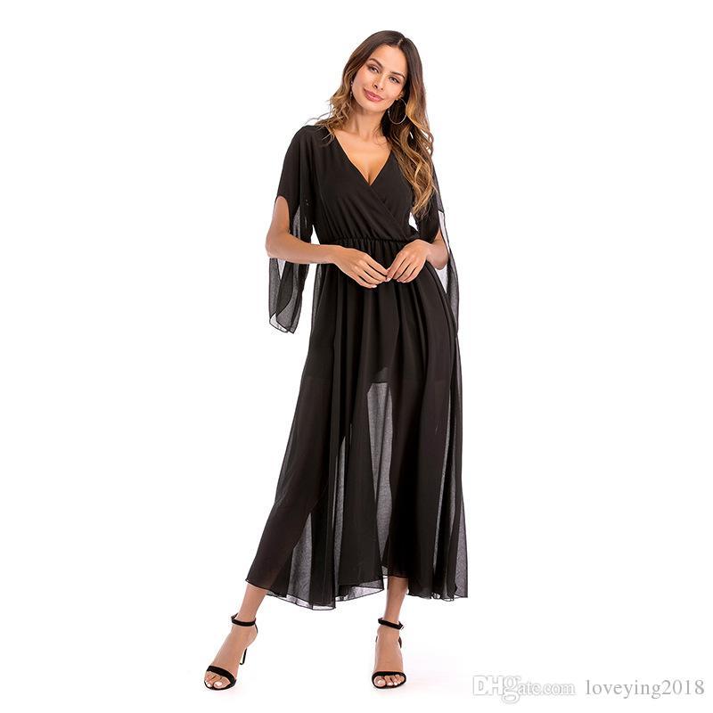 2018 Yaz kadın Elbise Bayanlar Şifon Katı Kadınlar Bohemian Elbise Maxi elbiseler V Yaka Nedensel Gevşek Stil Kadın Vestidos Için