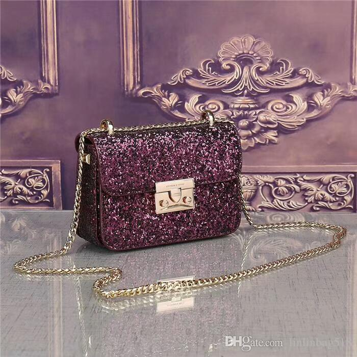 2018 latest popular classic sequin shoulder bag female The famous teacher designs the handbag high quality fashion pu leather chain bag free