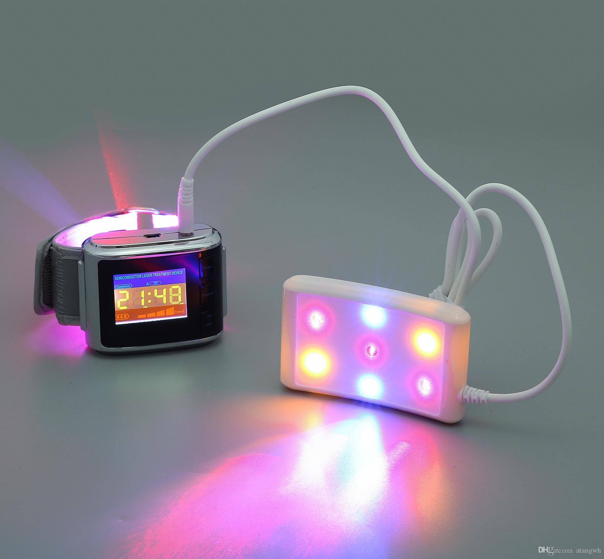 새로운 레이저 시계 빨강 파랑 노랑 3 색 치료 시계 lllt 낮은 수준의 레이저 요법 장치 고혈압 제어 시계