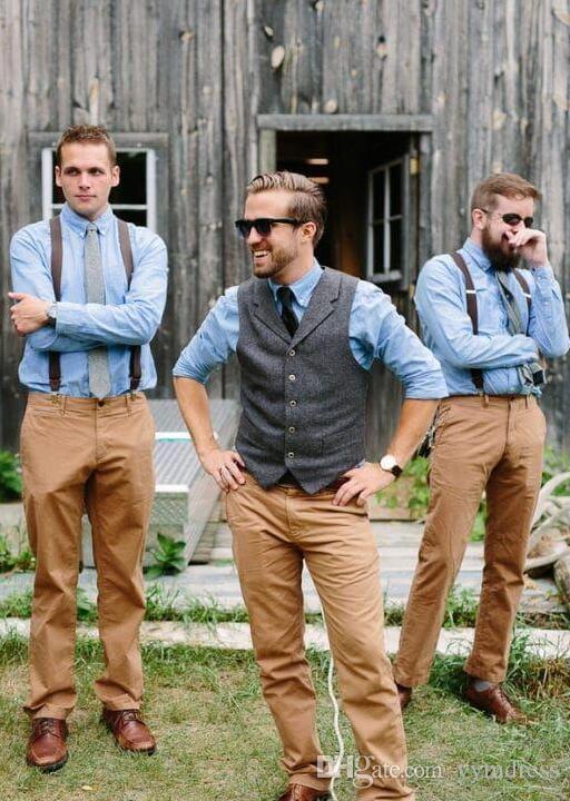 Dark Brown Wedding Vests Wool Herringbone Tweed Groom Vest Slim Fit Men's Vests For Party Custom Made Adjustable Waist Breasted