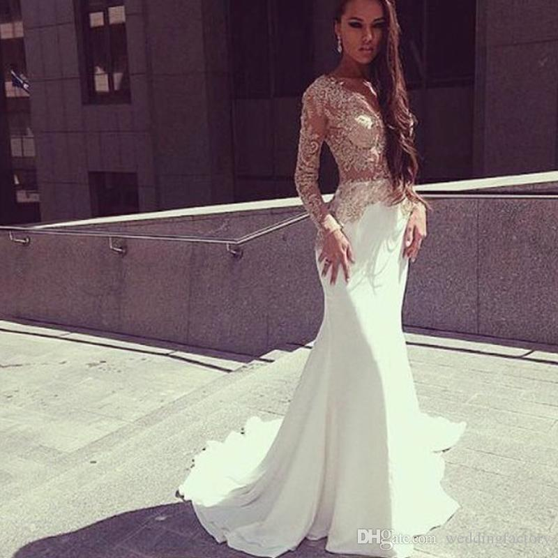 Sexy Long Sleeves Evening Dresses Sheer Top See Through Bodice Lace Appliques White Ivory Mermaid Prom Gowns Long Formal Dress