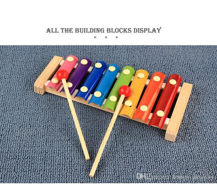 wood hand knocks the 8-Note xylophone serinette Eight piano digital alphabet blocks kids baby Musical toy piano Instrument gift DHL 16pcs