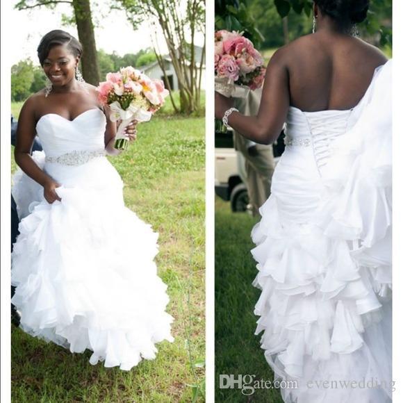 Organza Ruffled Sereia Vestido de Casamento 2018 Cristal Da Cintura Vestido De Noiva Lace Up Vestidos de Noiva Sweep Trem