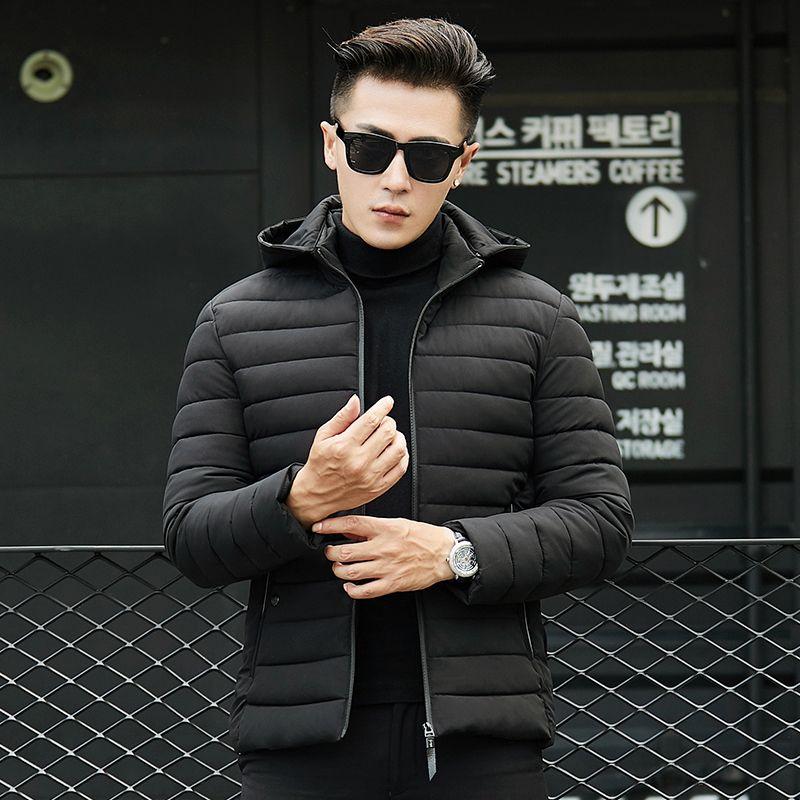 Hombres Chaquetas de invierno parka 2018 Nuevos Hombres jóvenes coreanos Tallas grandes Abrigos cortos Espesar Abajo Chaqueta de algodón Ropa de abrigo delgada de invierno NO527