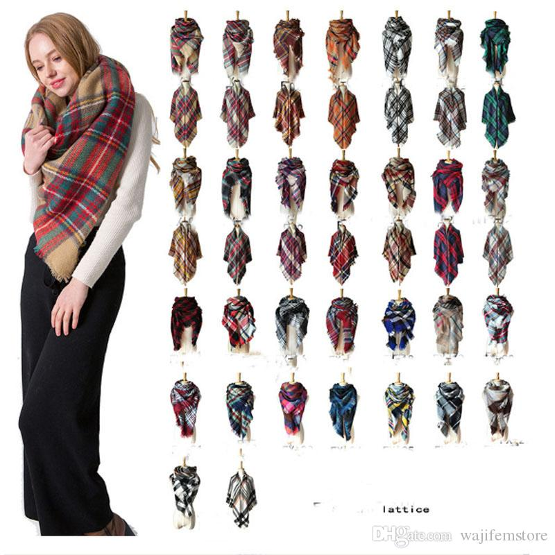 2018 Winter triangle Scarf Tartan Cashmere Scarf Women Plaid Blanket Scarf New Designer Acrylic Basic Shawls Women's Scarves Wraps 179 color