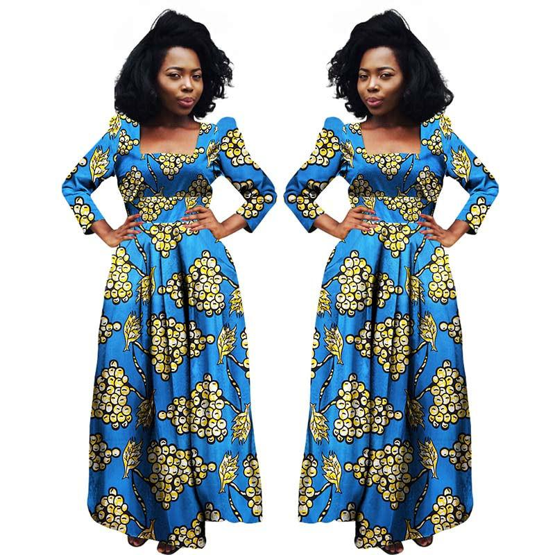 2018 African Dresses For Women Bazin Riche Dashiki Fabric Dresses Africa Wax Print Fashion Style Plus Size Clothing For Women