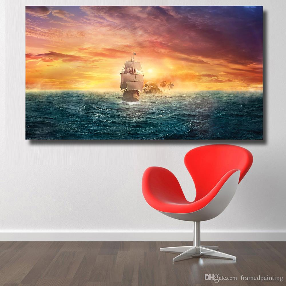 Wall Decor Home Decor London Lights Landscape Oil Painting for Living Room Bedroom Wall Pictures No Frame