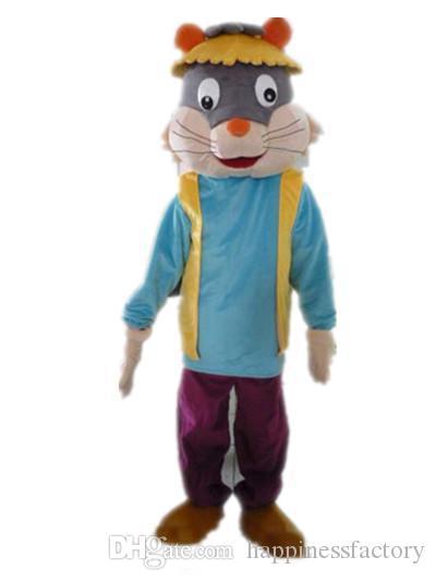 2018 Discount factory sale un disfraz de mascota de gato con una camisa azul y un sombrero para que los adultos usen