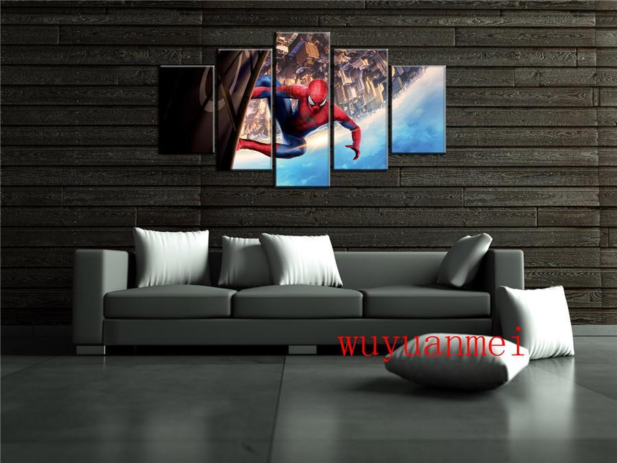 Spider-Man1, 5 Stück Wohnkultur HD gedruckt moderne Kunst Malerei auf Leinwand (ungerahmt / gerahmt)