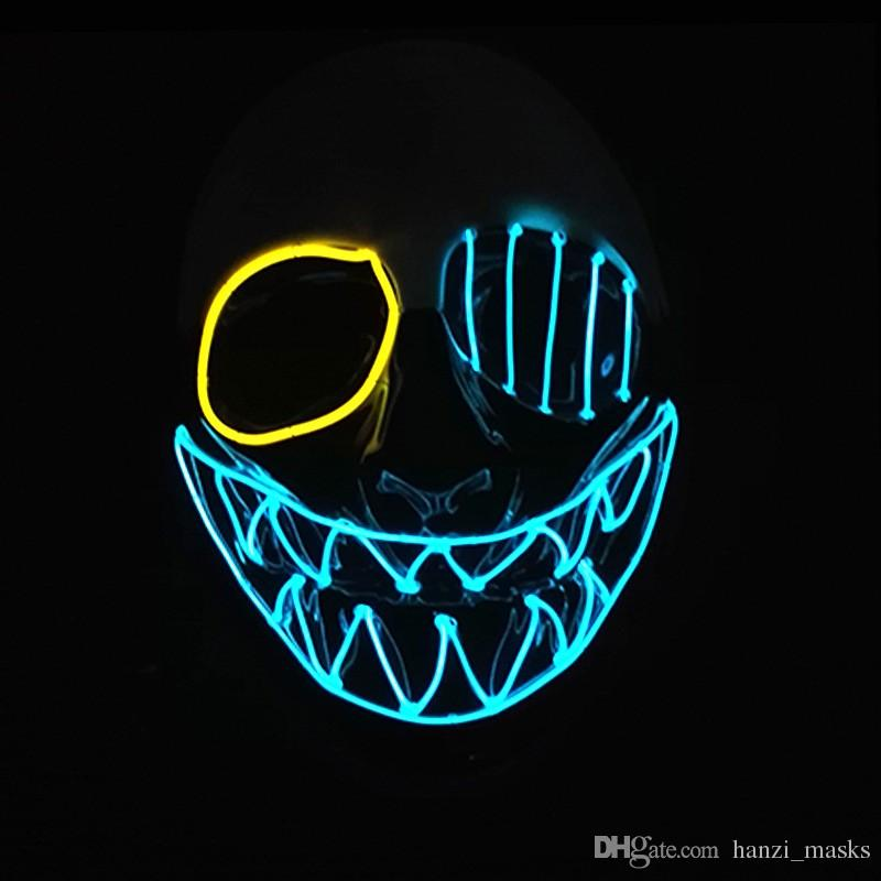 Hanzi_masks Selling Flashing EL wire Glowing Flexible LED Neon light For dance DJ Carnival Party Supplies Halloween Mask teeth Mask