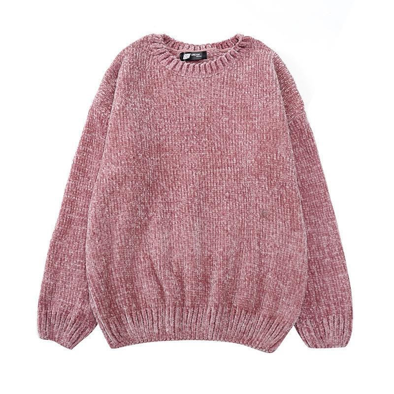 Высокое качество женская шикарный Золотой бархат блузка вязать свитера О-образным вырезом с длинным рукавом синели свитера женский s18100803