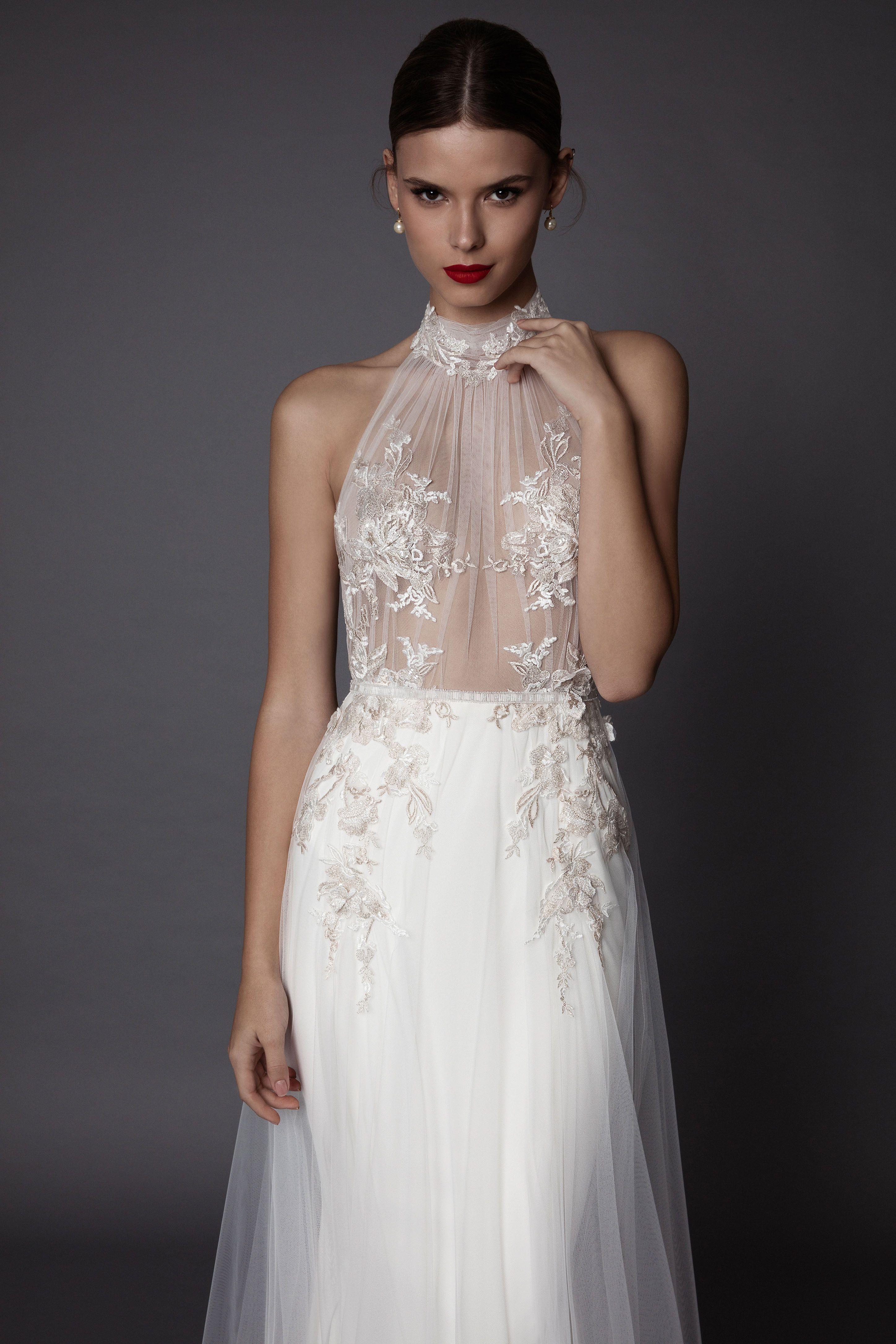 Summer White High Neck Berta Wedding Dresses 2018 Illusion Applique Lace Sweep Train Beach Bohemian Wedding Dress Subtle Irish Bridal Gown