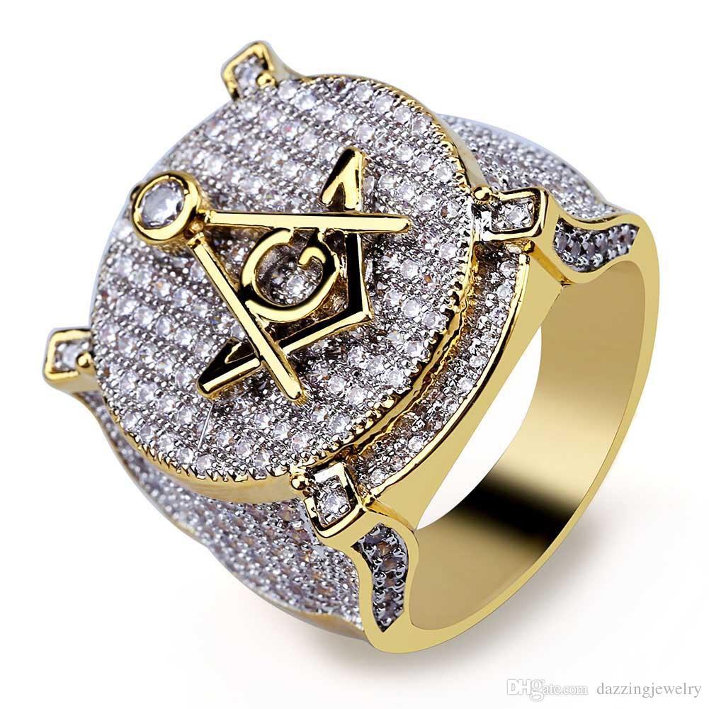 Top Grade high quality Gold Brass Micro pave CZ stones Religious Free Mason AG Emblem Masonic rings Freemason Jewelry Items for men women