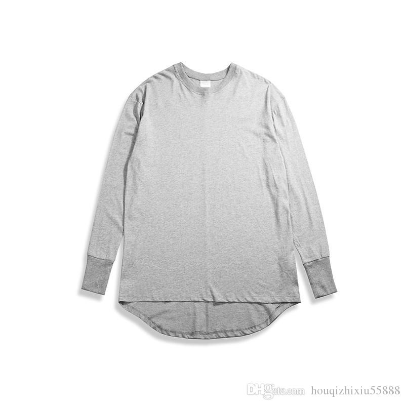 Hommes Oversize Extended ourlet incurvé T-shirt décontracté Hip-hop Mode Streetwear Swag Loose Cotton Manches longues Hommes T-shirts