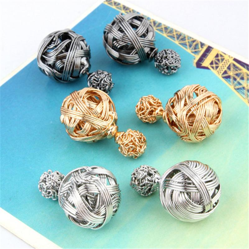 3 color Metal Wire Drawing Hollow Double Sides Two Gold Ball Stud Earrings Fashion Women Ear Studs Jewelry