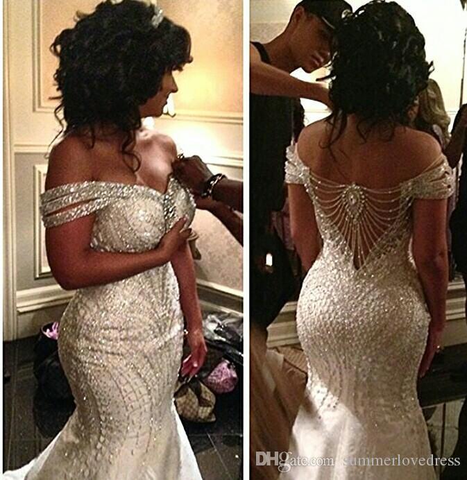 Lujo elegante fuera del hombro Organza sirena vestidos de novia cristales con cuentas barrer tren vestidos de novia