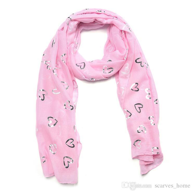 New Fashion Pink White Blue Color Love Heart Pattern Foil Sliver Glitter Scarf Beach Shawl Woman Bronzing Scarf High Quality Scarves