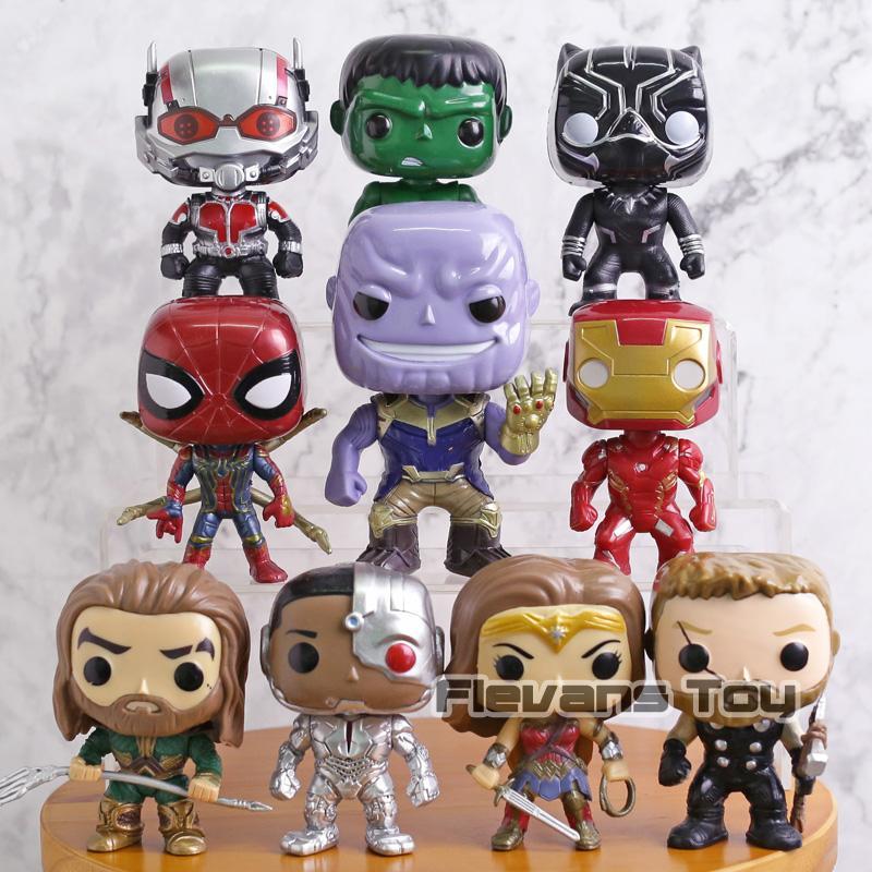 Marvel DC Super Heroes Brinquedos Thanos Pantera Negra Capitão América Mulher Maravilha Homem De Ferro Aquaman Hulk PVC Figuras de Ação 10 pçs / set