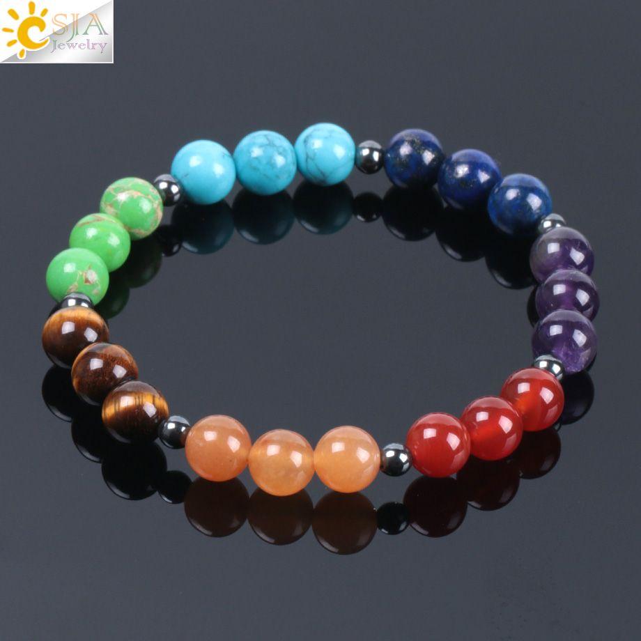 CSJA 2018 pulseras del encanto de la piedra de gema natural del arco iris de Chakra 7 para hombres de las mujeres de sanación meditación Mala étnico de bolas de 8 mm Ojo de Tigre Pulsera E999