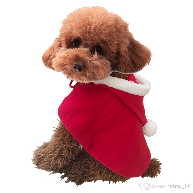 Christmas party clothes gift puppy costume dog Shawl Cloak cat Santa Claus clothes sweater with hat pet Accessories