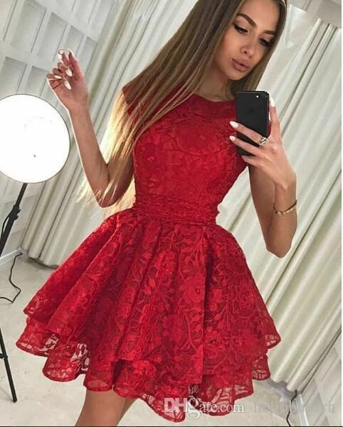 Red Lace Short African Prom Dresses 2018 Cocktail Party Dresses Sweet 15 Dresses