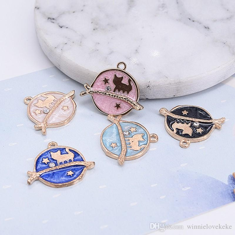 100PCS -Gold Plated Enamel Galaxy Charms Cat Sitting on a Branch in the Moonlight Clear Diamond Rhinestone