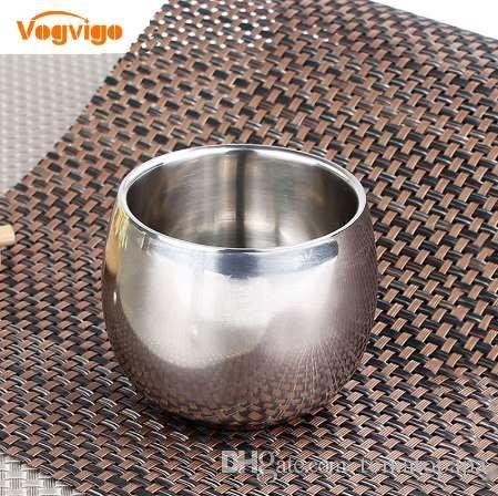 VOGVIOG Venda Quente 3 Tamanho de Aço Inoxidável de Dupla Camada Anti-quente Oco Copo De Café Caneca Dupla Camada À Prova De Escalada Drinkware