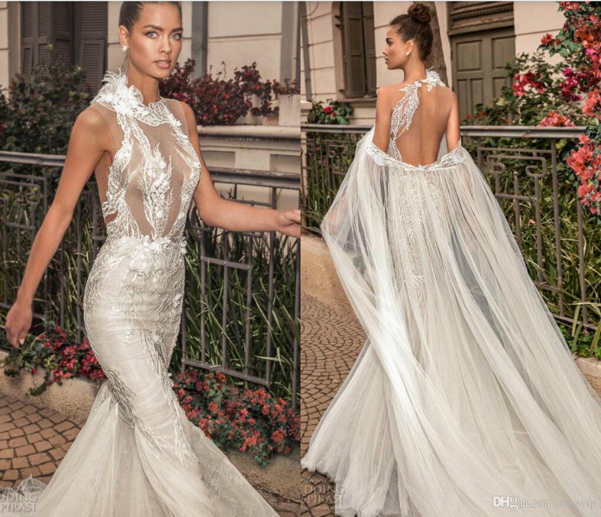 Elihav Sasson Sirena Vestidos de novia con apliques de encaje Cape Illusion Sweep Train Backless Beach Beach Vestidos de novia más tamaño vestido de novia