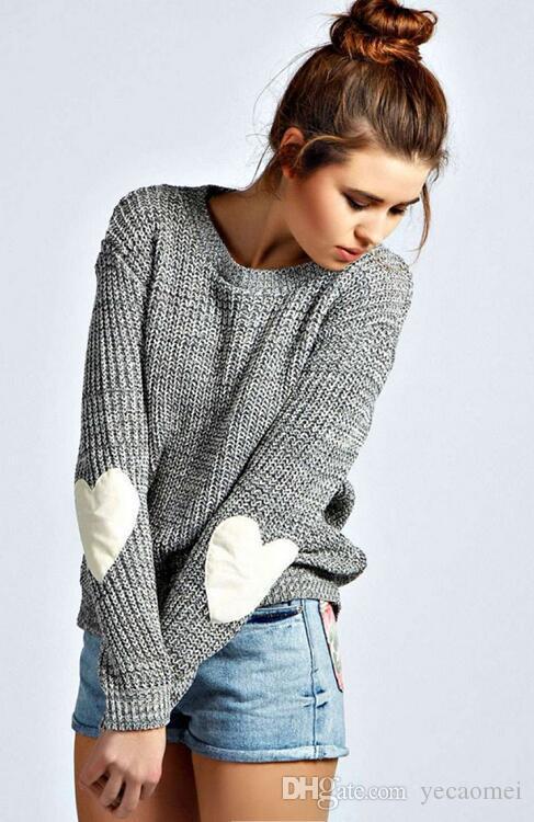 Otoño Invierno nuevas mujeres prendas de punto puente de moda suéteres de punto empalmados en forma de corazón para mujer de manga larga jerseys tops
