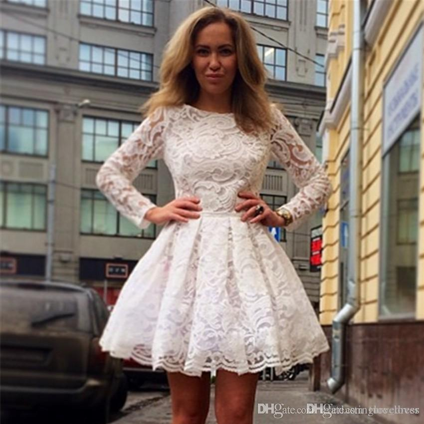 new Knee Length White Long Sleeves A Line Lace Homecoming Dresses New Arrival High Neck Modest Short Prom cocktail dresses 2019 CHEAP