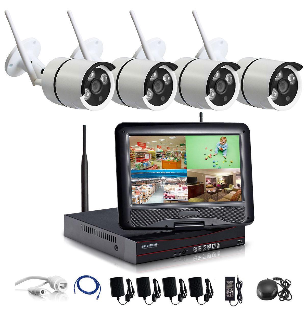 1280 * 720P HD شبكة لاسلكية في الهواء الطلق / IP الأمن كاميرا 4CH 720P HD واي فاي NVR اللاسلكي الدوائر التلفزيونية المغلقة وأنظمة المراقبة أمن الوطن