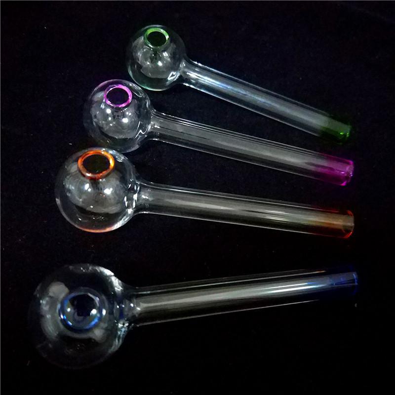 En iyi El Sanatları Pyrex Cam Yağı Brülör Boru Mini Sigara El Borular dab için yağ Cam boru Kalın Cam Boru Yağı Renkli Boru cam bong