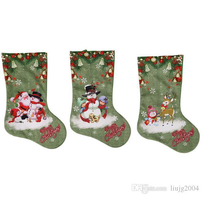 vert bas de noël santa claus sac cadeau bonbons cadeau de décoration de noël pour enfants noël ornements de sapin fournitures