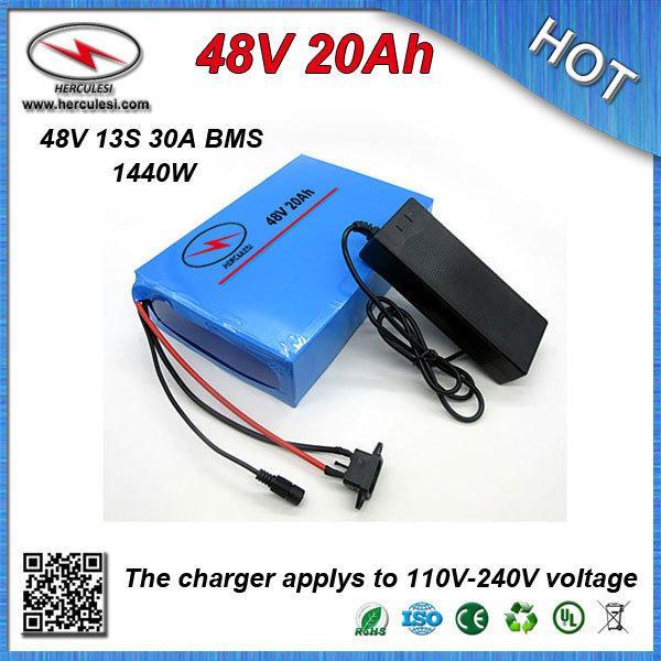 Глубокий цикл ПВХ корпус 48В литий-ионный аккумулятор 20Ah для электрического E Bike, встроенный в 18650 элементов 30А BMS и 54,6В 2A зарядное устройство