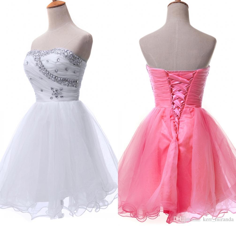 Niebieski / Biały / Różowy Zroszony Krótkie Suknie Wieczorowe Formalne Suknie Sweetheart Prom Homecoming Suknia Ball Girl Dresses DH1367