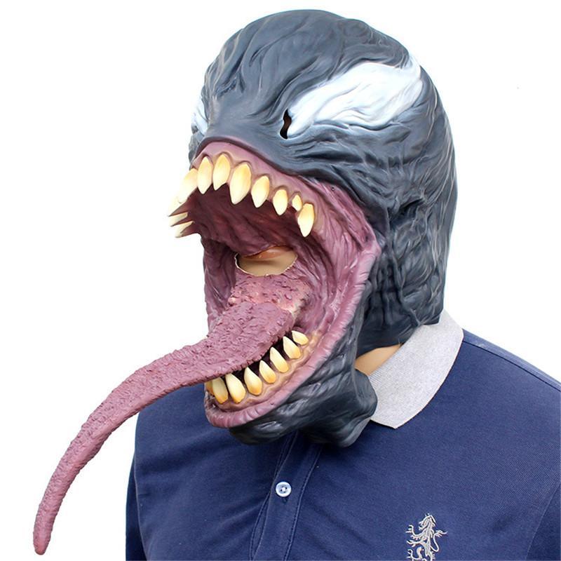 Horror The avengers The Venom Máscara de Spiderman Cosplay Eddie Brock Superhero oscuro Venom Latex Máscaras Fiesta de Halloween