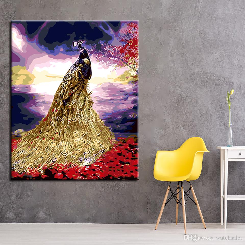 2018 Peacock Gold Tail Diy Digital Oil Painting By Numbers Coloring ...
