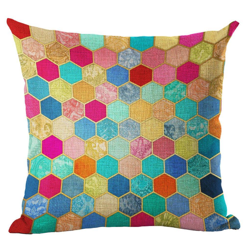 Throw Pillow Mosaic Style Cushion Cotton Linen Mosaics Colorful Cushion Bird Square Blue Sofa Chair Throw Pillowcase