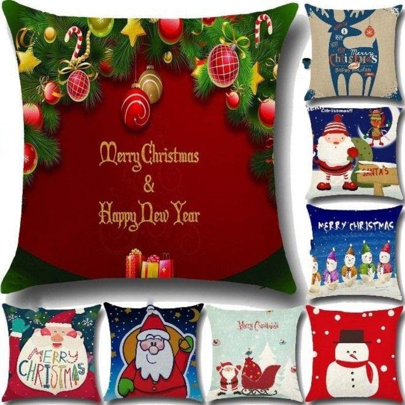 Leinen Frohe Weihnachten Kissenbezug Xmas Platz Dekokissen Fall Für Zuhause Herr Reindeer Decorateive 20 Stile