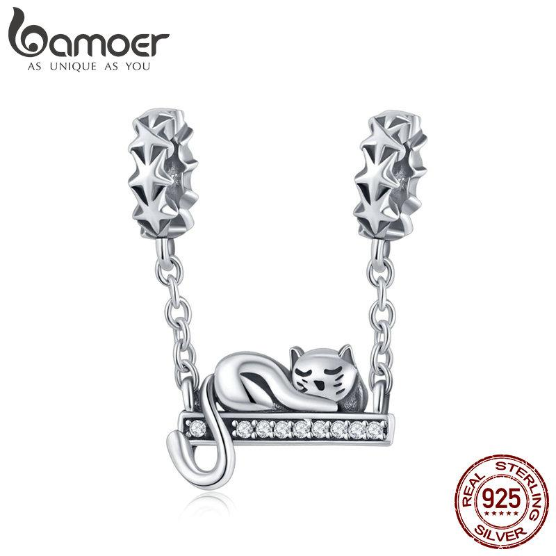 Bamoer 100% 925 Ayar Gümüş Sevimli Kedi İstiflenebilir Yıldız Charms Yıldız Açacağı Charm Fit Bilezik Kolye Takı SCC856