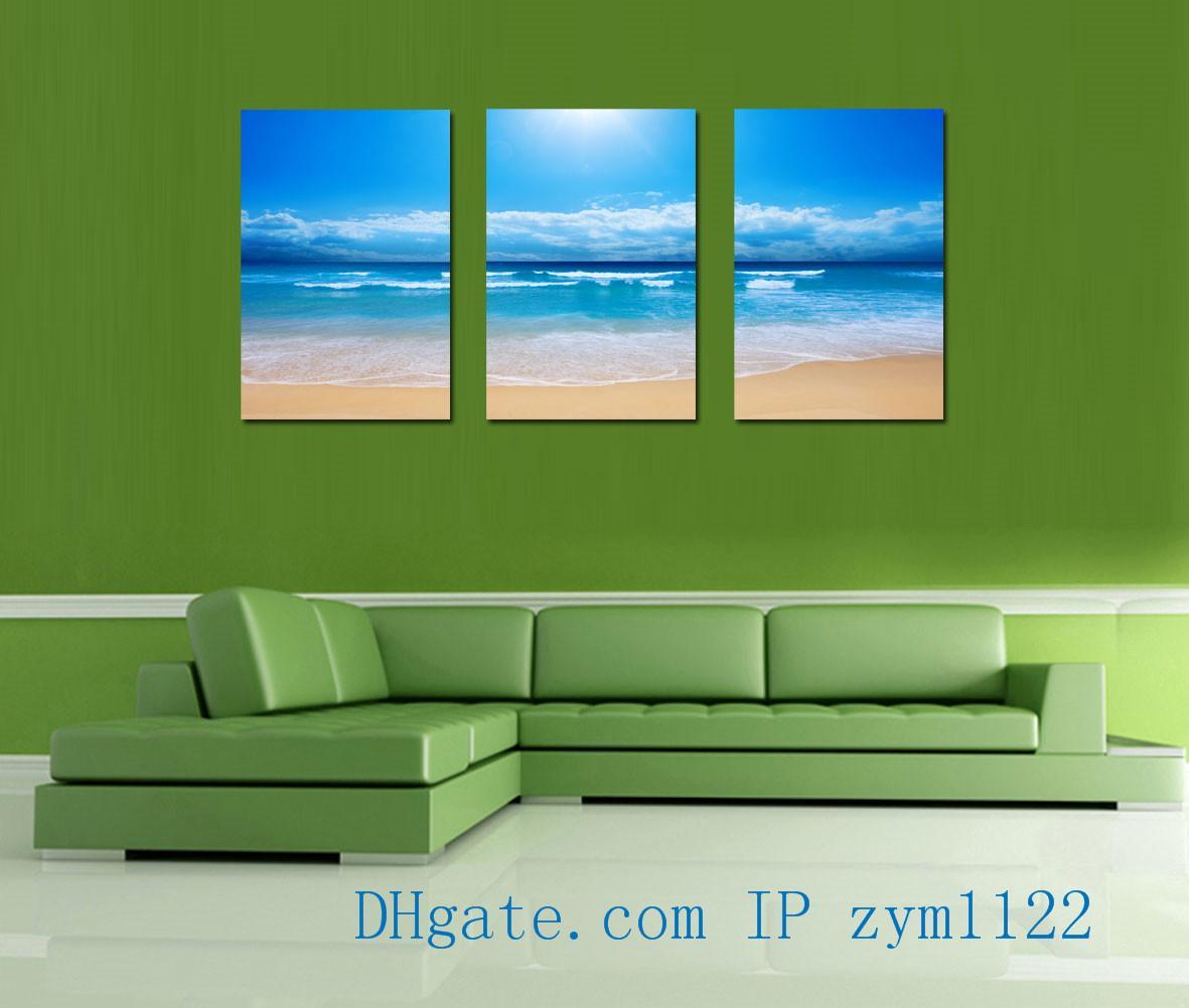 Beach Wave Sunshine 3Pieces Home Decor HD Printed Modern Art Painting on Canvas (Unframed/Framed)
