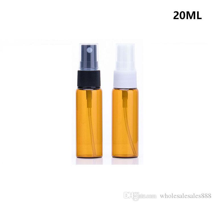 1000 Adet / grup 20 ml Amber Cam Sprey Şişe Siyah beyaz Ince Mist Püskürtücüler Uçucu yağ aromaterapi parfüm şişesi ile