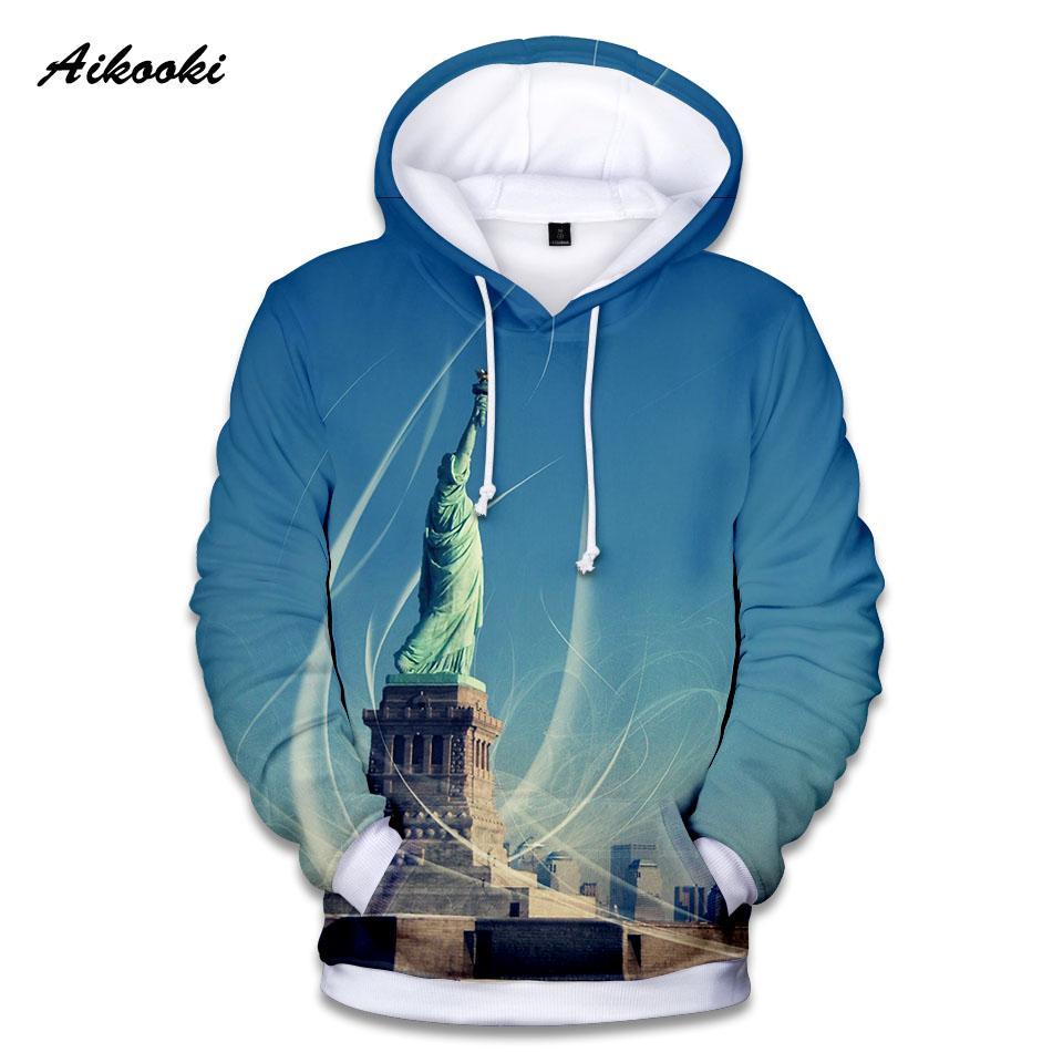 Aikooki Estados Unidos da Estátua da Liberdade Hoodies dos homens / mulheres camisolas encapuçados 3D Imprimir Outono Inverno com capuz Polluver Top