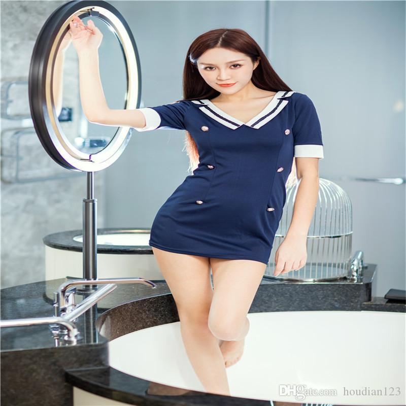 ملابس داخلية مثيرة موحدة إغراء دعوى مثير مضيفات الطيران إغراء المرحلة زي الأزرق طية صدر السترة فستان قصير الأكمام