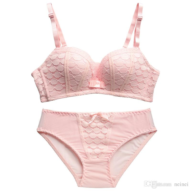 Nueva Moda Señora Lace Underwear Women Set Push Up Bra Seamless Sexy Brassiere Wireless Bras para Small Breast Lencería Set