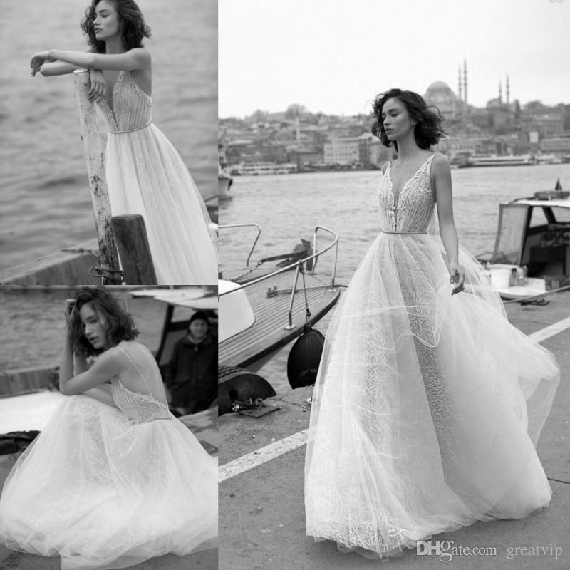 Liz Martinez 2019 Beach A Line Wedding Dresses Tulle Backless Lace Appliqued Bridal Gowns Plunging V Neck Boho Wedding Dress