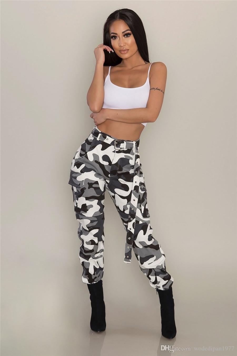 Pantalones de camuflaje de la moda de las mujeres para las señoras Europa y América Estilo más pantalones de carga de los pantalones largos ocasionales de la calle de la calle 3XL