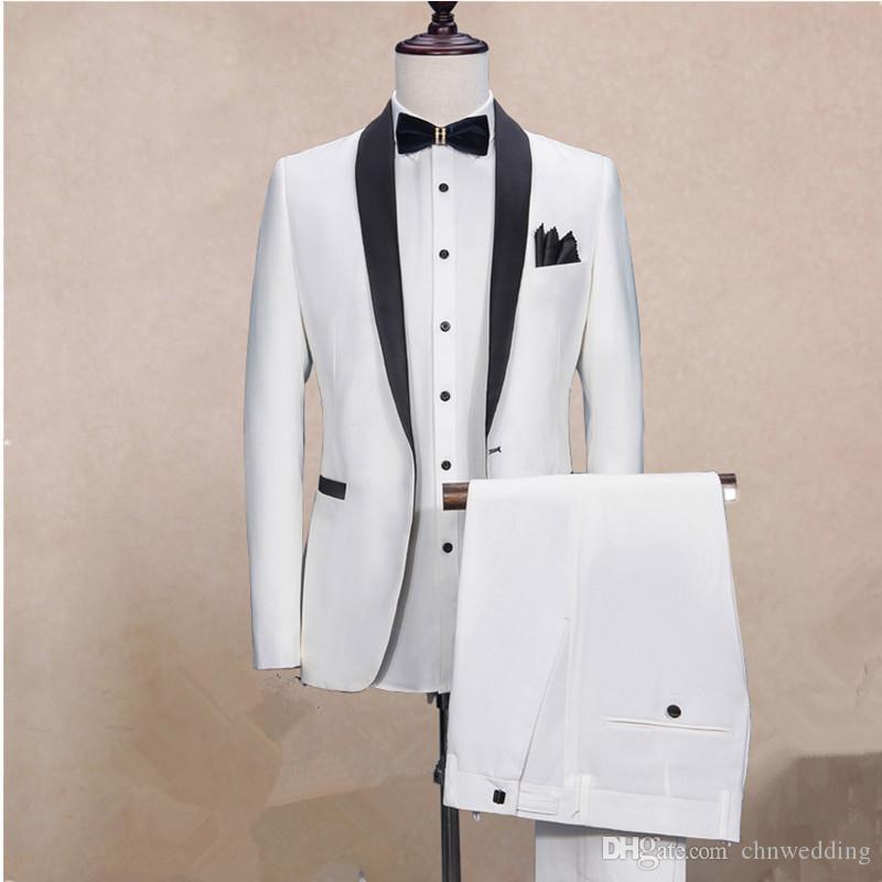 Özel Beyaz Slim Fit Erkekler Siyah Lapel (Jacket + Pantolon) En İyi Erkek Prom Wear Sağdıç Suits ile 2018 Damat smokin Takımları