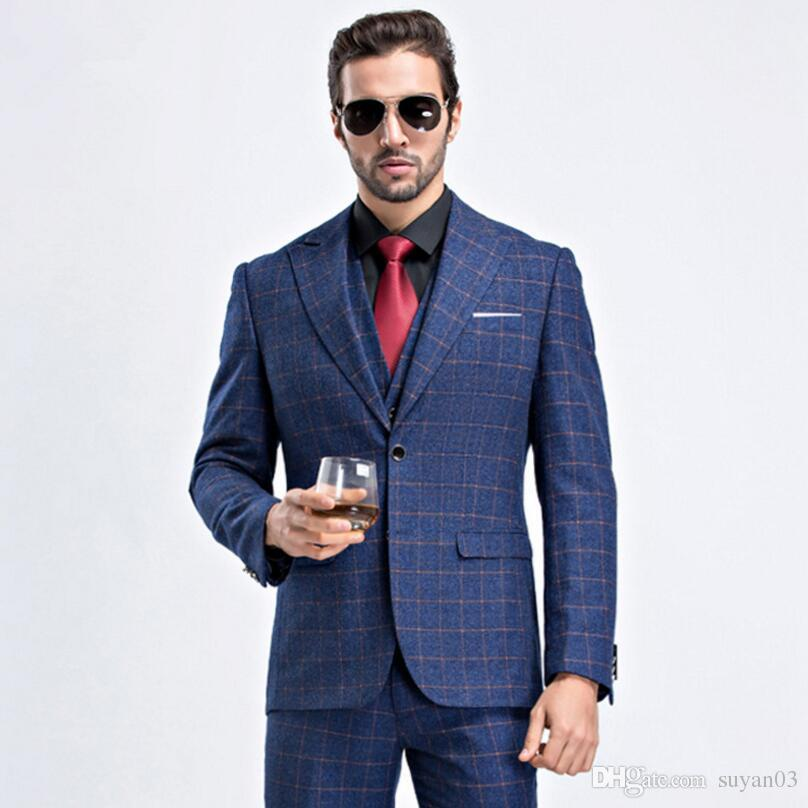 crazy price top-rated discount high quality Fashion Plaid Wedding Suits For Men Good Quality Single Button Mens Suits  Tuxedos Jacket+Pant+Vest Mens Formal Wear Slim Fit Suit From Suyan03, ...
